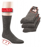 6553 - Wollsocken mit Plüschsohle, mouliné, Doppelpack